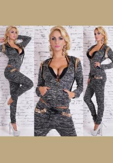 Women's 2-Piece Full Tracksuit Jogging Bottoms With Gold Chain Leisure Suit