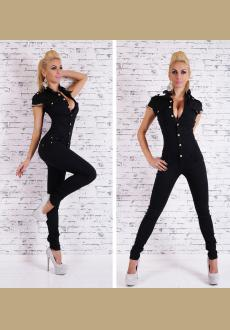 Stylish Turn-Down Neck Short Sleeve Chained Women's Jumpsuit
