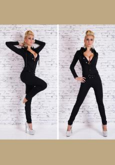 Sexy Hooded Solid Color Buttoned Long Sleeve Bodycon Jumpsuit For Women