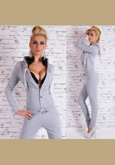 Fashion Solid Color Long Sleeve Hooded Slim Fit Jumpsuit