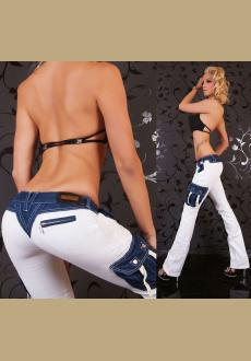 Sexy Women's Bootcut Hipster stretchy Jeans White & Blue
