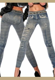 Legging, superelastically with trendy print in jeans-optic and low hip
