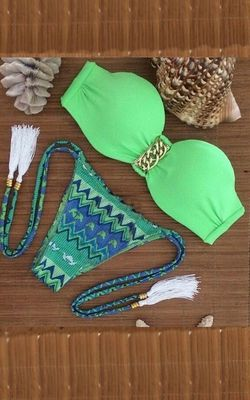 Green Bandeau Top an...