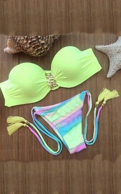 Yellow Bandeau Top a...