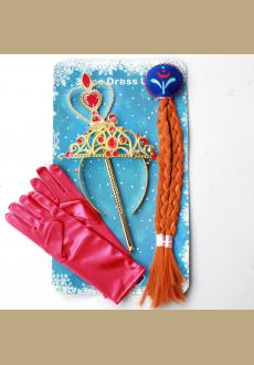 4Pcs  Anna Princess Crown Hair Piece Wand Gloves Wigs Party Cosplay