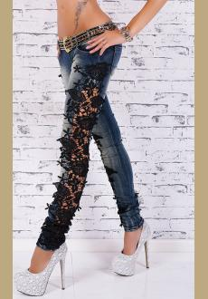 Sexy Women's Skinny Ripped Distressed Lace Jeans