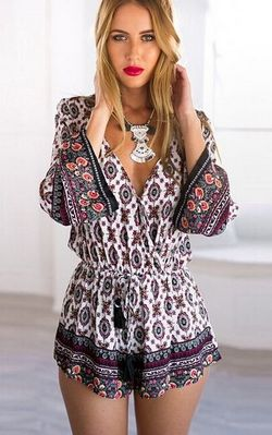 Ethnic Women's Plunging Neck Tribe Print Long Sleeve Romper