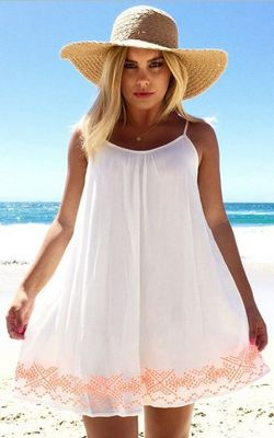 White Shift Dress wi...
