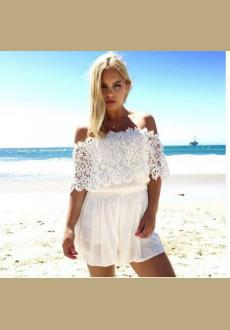 WHITE LACE SHOULDER CUT-OUT SEXY JUMPER DRESS