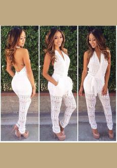 2016 Crochet Halter Backless Jumpsuit Romper Playsuit Summer Sexy Women V-Neck Sleeveless Rompers Women Jumpsuit