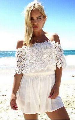 WHITE LACE SHOULDER ...