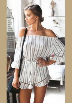 Ruffled Off-The-Shoulder Tassel-Tie Waist Romper