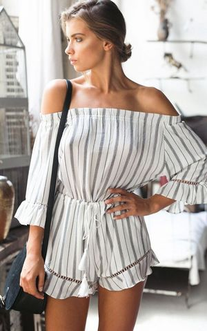 Ruffled Off The Shoulder Tassel Tie Waist Romper