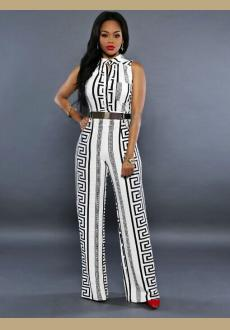 BLACK AND WHITE AZTEC TRIBAL PRINT SLEEVELESS PARTY WIDE LEG JUMPSUIT