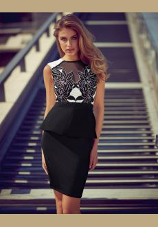 high neck laser cut peplum dress
