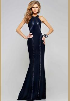 Sequin Trim Blue Jersey Gown