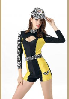 Sexy Roma Black Yellow Race Car Driver Speed Racer Nascar Pit Crew Cutie Costume