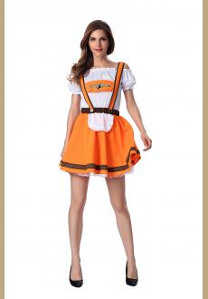 Orange Beer Girl Sexy Maid Costume