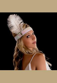 Ostrich feather headdress feathers with sequins set auger color Indian headband