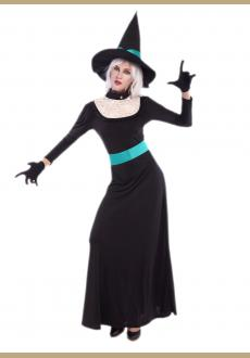 halloween witch long gown costume,it comes with hat,dress,gloves,belt