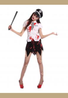 bloody women zombie police costume,it comes with hat,topwear,skirt