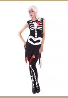 scary human skeleton cosplay costume