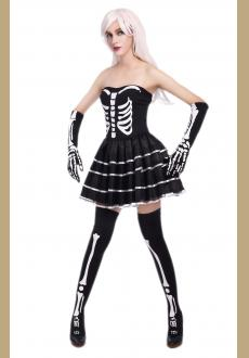 sexy halloween skeleton bustier dress costume,it comes with gloves,dress.the stocking is not include.