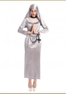 silver zombie nun costume.it comes with headband,dress,cross