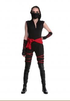 Black Warrior Costume Sexy Women Halloween Mouth-Muffle  Top  Pants  Gloves  Belt
