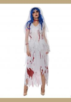zombie long white bride costume,it comes with headwear,dress