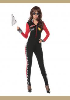 sexy red race girl jumpsuit,accessory:gloves