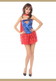 blue and red tutu superwomen costume,it comes with eyeshade,cape,dress