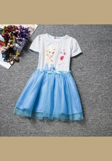 New Summer Snow Queen Elsa Dress Kids Clothing Polka Dot Cotton Baby Girl Party Dress