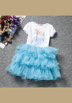 New Girls Summer Elsa Dress Kids Baby Snow Costume Princess Elsa Party Lace Dress