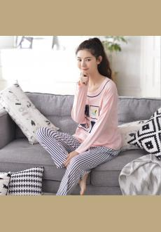 The new autumn long sleeved cute cartoon pajamas two sets of women 's autumn 2016 cotton garments suits