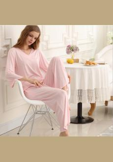 Autumn lady new 2016 simple monochrome natural cool autumn pajamas V neck lace two-piece outfit for women