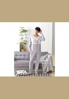 Men's long sleeved casual cotton pajamas korean cotton pajamas spring and autumn home clothing suits