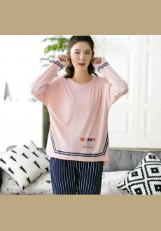 Spring and Autumn ladies cotton pajamas suit loose soft stripes long sleeved cotton home pajamas