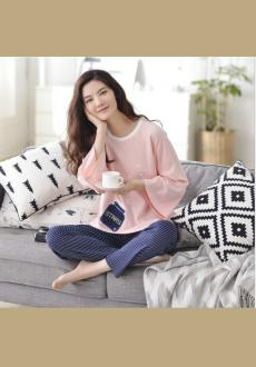 Spring And Autumn Sleeve Women 's Long Sleeve  Cotton Pajamas Set Loose Stripes Leisure Fashion Creative Home Sleepwear