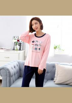 Spring and autumn long sleeved women 's cotton pajamas cute cartoon women pajamas suit a home sleepwear
