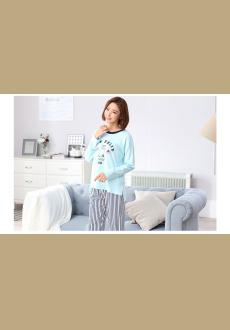 Women 's long sleeved cotton pajama striped long pants cotton ladies' home suit household pajamas