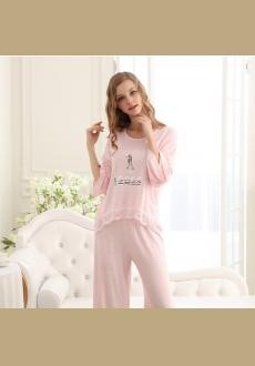 Europe and the United States style 2016 autumn women's lovely modal cotton pajamas fashion long-sleeved two-piece suit
