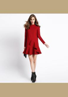 Red High Neck Ruffle Long Sleeve Flounce Hem Dress