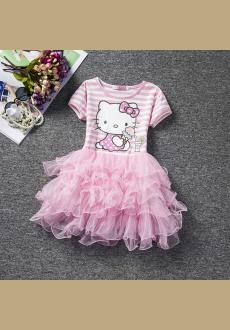New pink girls dress in Europe and the United States short sleeved cartoon cake Puff princess dress