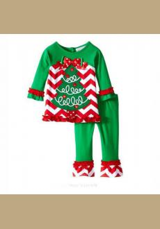 Europe and the United States girls christmas suit green color section of the New Year princess skirt suit jacket   trous