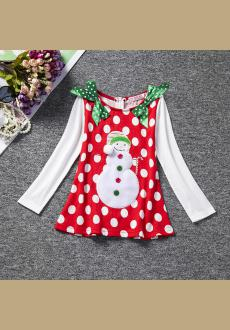Europe and the United States in winter new girl christmas dress long sleeved wave point princess cartoon children  s dre