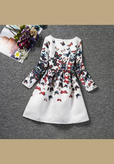 Wholesale high grade quality girls dress jacquard butterfly printing long sleeved princess dress