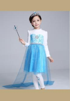 Wholesale blue long sleeved dress pure cotton princess dress