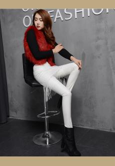 White leather leggings for women