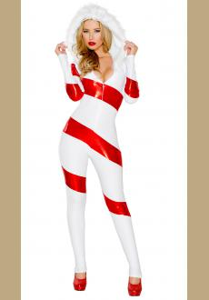 Hooded Candy Cane Catsuit